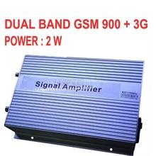 De alta ganancia de 3000sq metros 2 W BOOSTER GSM 900 3G 2100 MHZ BANDAS DUALES GSM + 3G repetidor, 3G aumentador de presión, repetidor del WCDMA 3G amplificador de SEÑAL