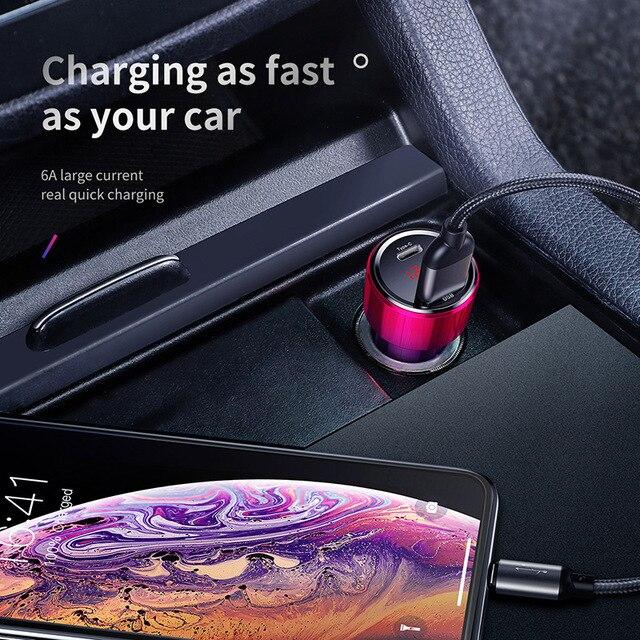 Chargeur rapide de voiture Baseus 4.0 3.0 pour Xiaomi Mi 9 Redmi Note 7 Pro 45W PD chargeur de téléphone rapide AFC SCP pour iPhone 11 Pro Max