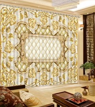 golden curtains Flowers print Chinese Customized 3D Blackout Curtains Living Room Bedroom Hotel Window
