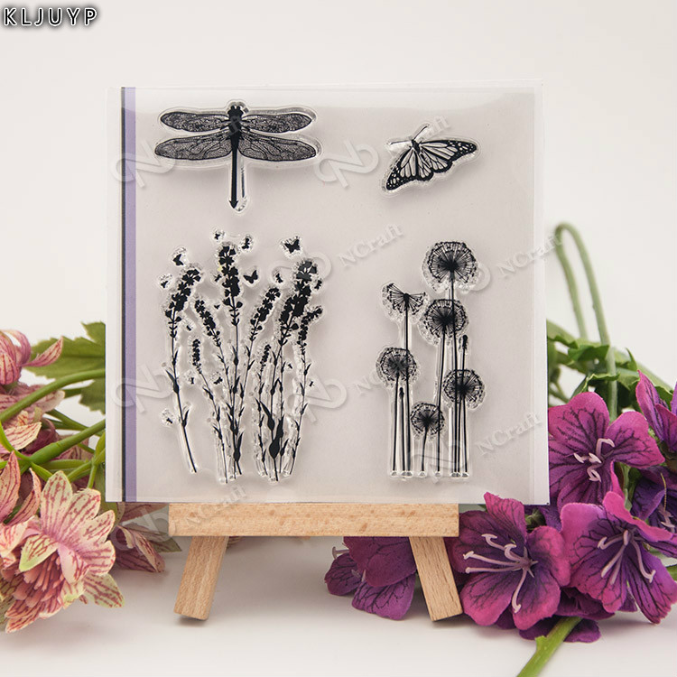 KLJUYP Dandelion/flower/butterfly Transparent Clear Silicone Stamp/Seal for DIY scrapbooking/photo album Decorative clear stamp diy decorative butterfly style fondant cake silicone module green