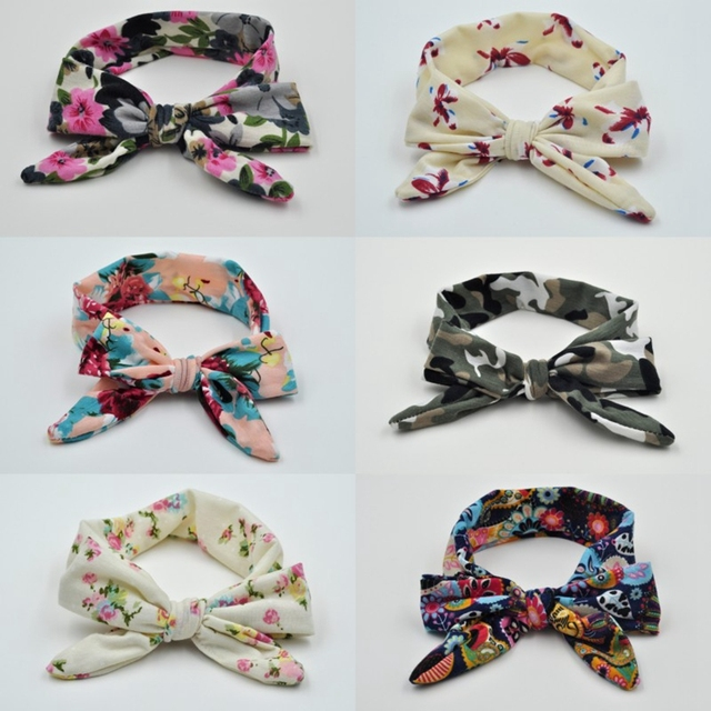 30pcs lot Top Knot Bow Headband Tie Head Wraps Soft and Cute One Size Fits  All Headbands Floral Print Girl Adjustable Headbands a46f27cb919