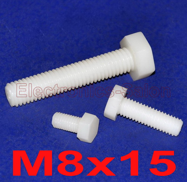 ( 100 pcs/lot ) Metric M8 x 15mm Nylon Hex Bolt, Hexagonal Screw. image