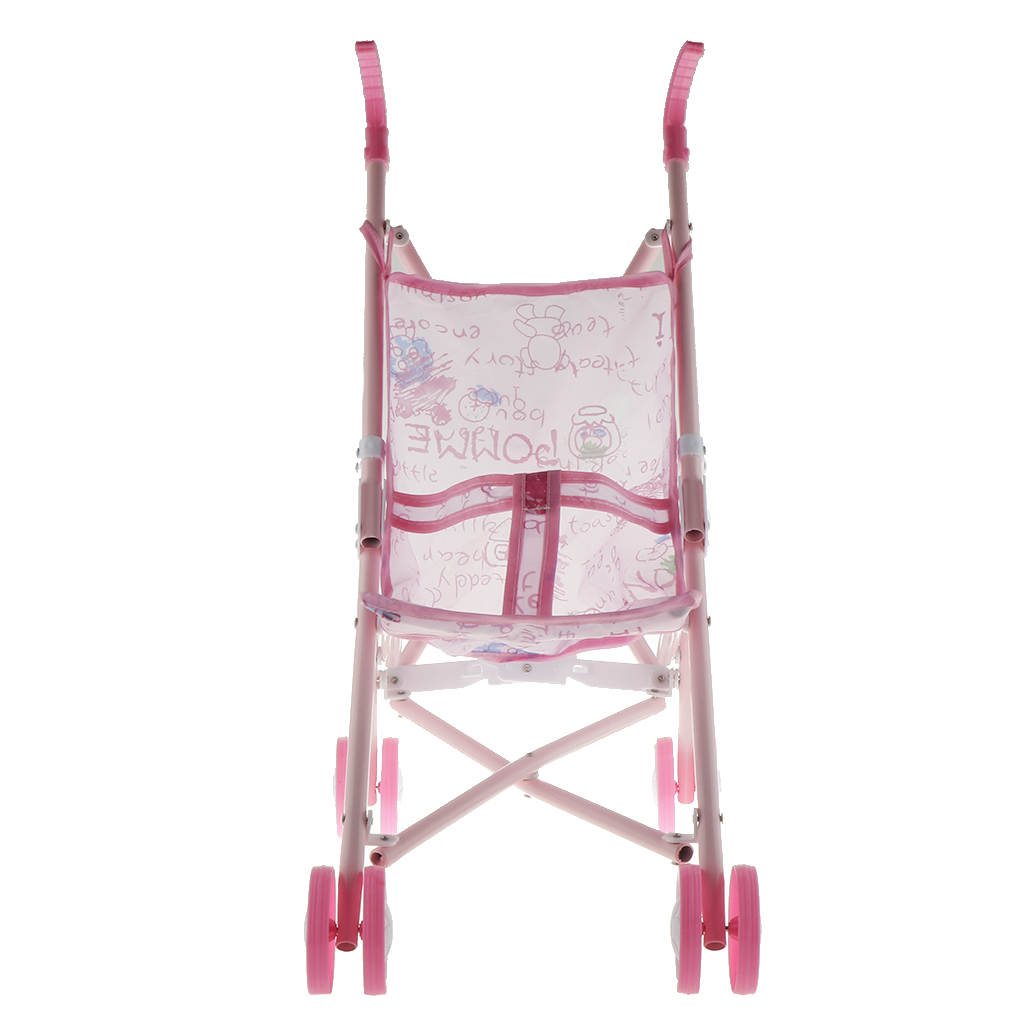 Foldable Doll Stroller Doll Pram Pink Cartoon Pattern Printed Baby Doll Stroller for Above 3 Year