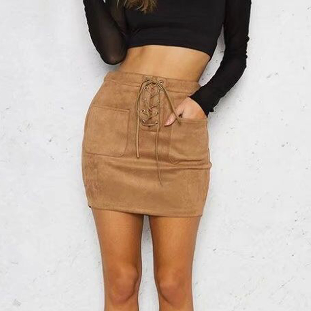 Women Leather Suede Lace Up Bandage High Waist Party Pencil skirt Short Mini Skirt