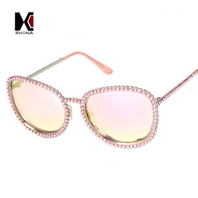 Mulheres populares Pérola Veneziano Decoração Óculos De Sol Da Marca Designer Liga Oval Moldura de Espelho Lente Óculos Óculos de Sol Revestimento