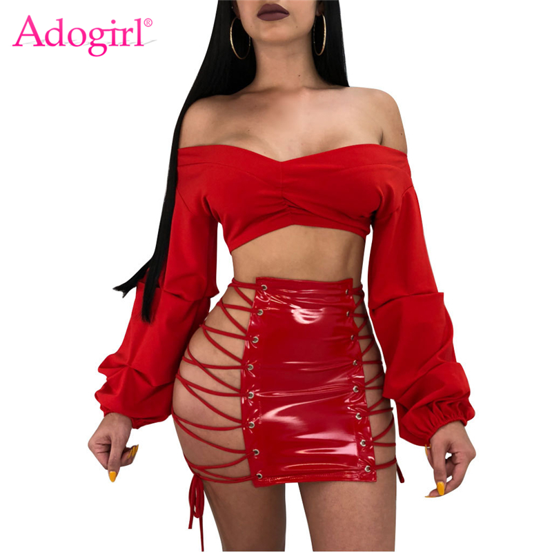 Adogirl Grommet Lace Up PU Leather Skirt Women Sexy Night Club Bodycon Mini Skirts Feminine Faldas High Quality Cheap Petticoat