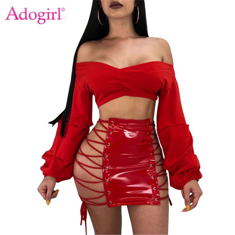 Adogirl Grommet Lace Up PU Leather Skirt Women Sexy Night Club Bodycon Mini Skirts Feminine Faldas High Quality Cheap Petticoat