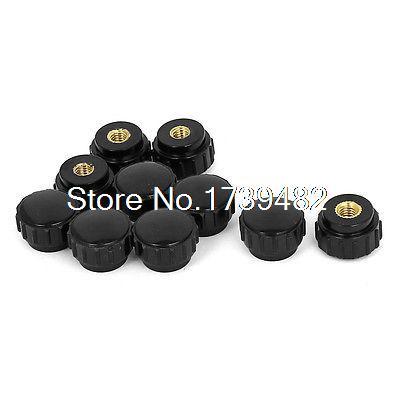 M5 x 18mm Female Thread Plastic Knurled Head Clamping Knob Jig Black 10pcs 12 x black 5mm m5 male thread dia plastic screw on round knurled knob