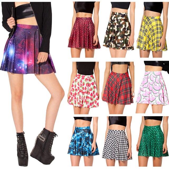 Women Skirts Summer 2014 Fashion Brand MIni Skirts Womens Galaxy Purple Pleated Skater Skirt High Waist Skirt Female
