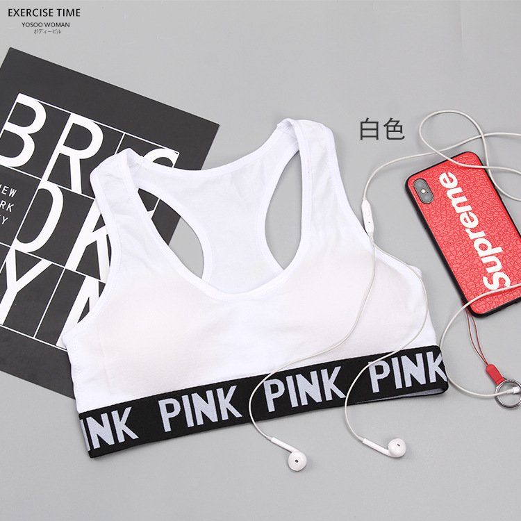 New Secret Pink Wireless Crop   Tops   Push Up Fitness Seamless Bustier   Top   Printed Letter