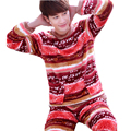 Pijamas de Los Hombres 2016 Otoño Invierno Espesar Franela Hombre Del Pijama Conjunto Pijama Homewear Ropa de Dormir de Coral Polar Ropa de Noche Masculina Del O-cuello Hombre