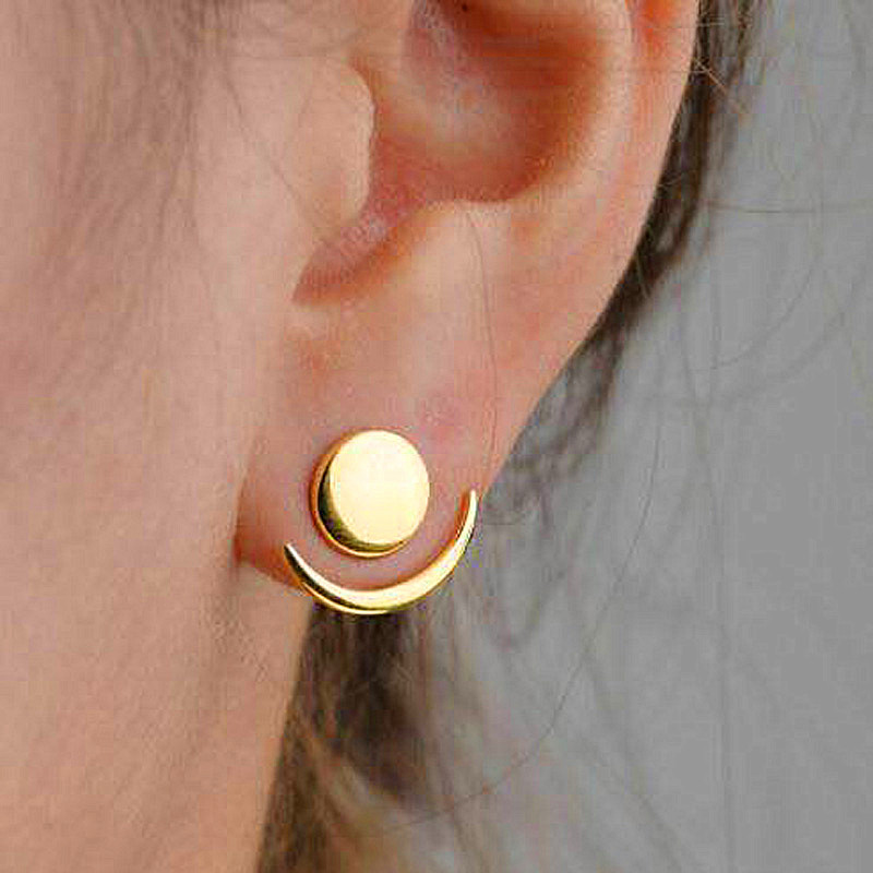 Us 0 54 45 Off 2pcs Set Minimalist Round Moon Gold Stud Earring For Women Las Cute Circle Crescent Small Studs In Earrings From Jewelry