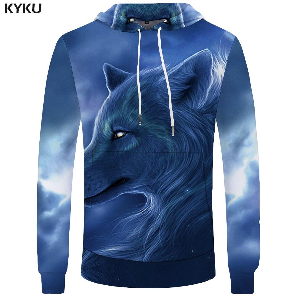 KYKU Wolf Clothing Men Harajuku Sweatshirt Blue Sweatshirts Mens Hoddie fashion 3d Hoodies Galaxy Hooded 2018 Print Hoodies