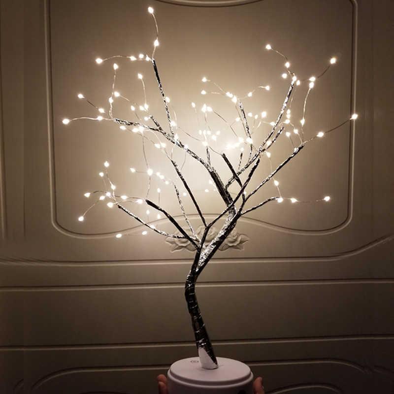 108 LED USB النار شجرة ضوء النحاس سلك مصابيح طاولة ليلة ضوء للمنزل داخلي غرفة نوم الزفاف حزب بار عيد الميلاد الديكور