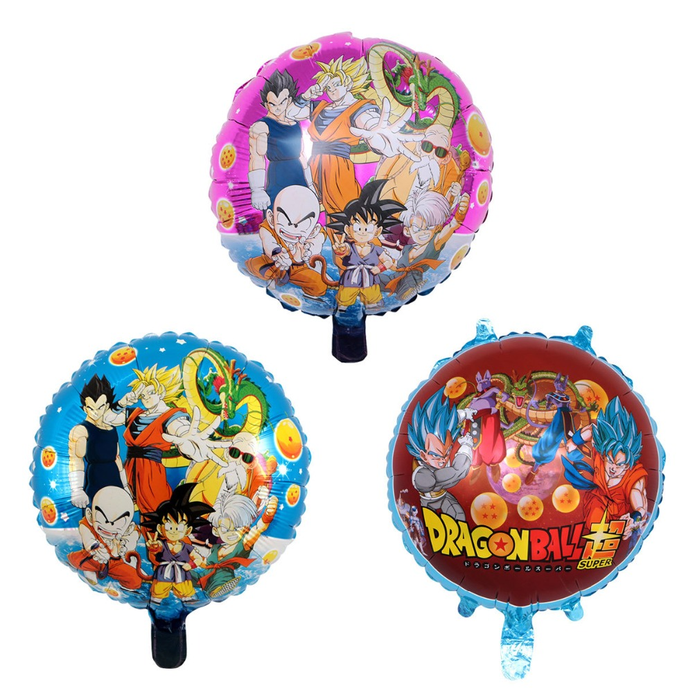 3pcs 18 Inch Anime Dragon Ball Action Figure Toys Balloons Son Goku Cartoon Foil Balloons Wedding  Birthday Party Decoration Toy