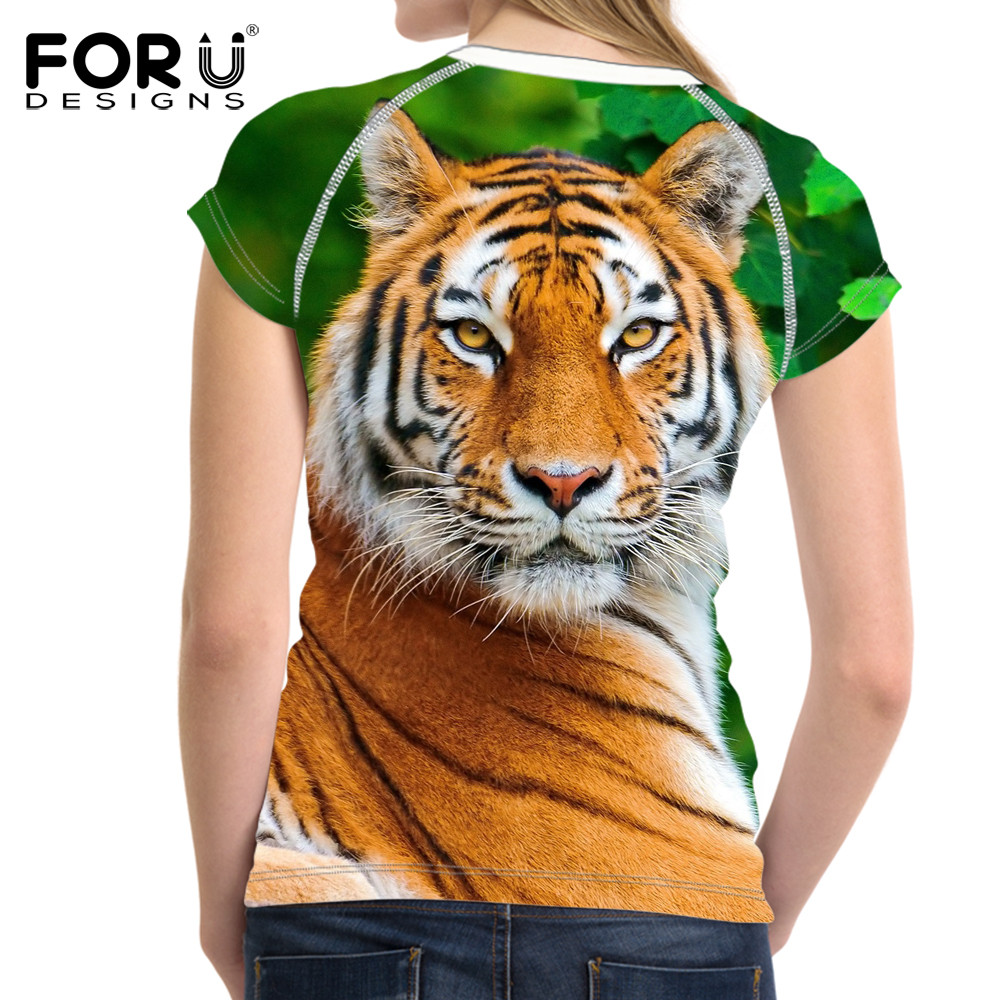 FORUDESIGNS 3D White Tiger Women T-shirt Crop Top For Women T-shirt - Կանացի հագուստ - Լուսանկար 4