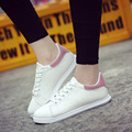 Women Casual PU Shoes Brand White Skateboard Shoes Leather Trainers Flat Canvas Shoes Black White Basket Femme