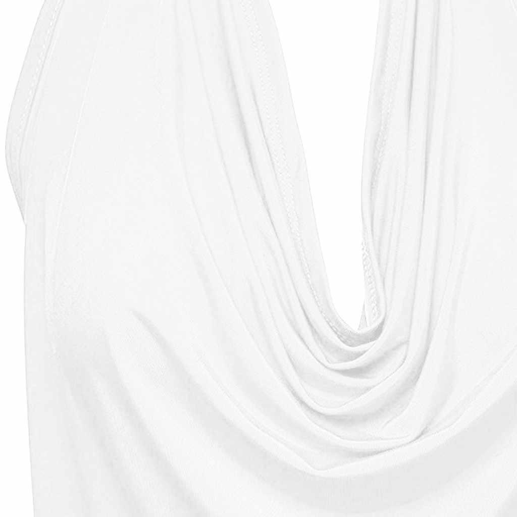 Panie lato bluzki kobiety stałe bez rękawów koszula Camisole Sexy Halter zasłona osłona Neck Tank Backless kamizelka bez rękawów #8