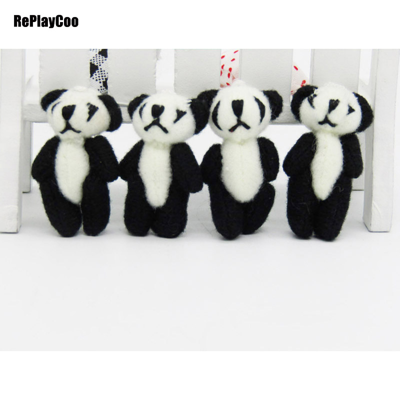 100pcs lot Kawaii Small Joint Pandas Bear Stuffed Plush Toys Small Pendant Toy Panda Doll Baby
