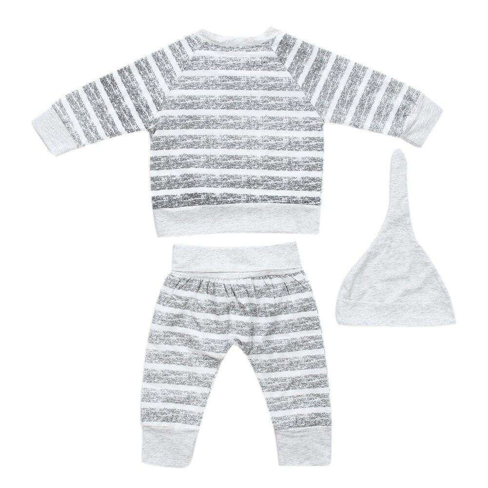 Spring Newborn Infant Baby Boy Clothes Set Grey Stripe Long Sleeve T-shirt Long Pants Hat Outfits Set Toddler Boy Clothing
