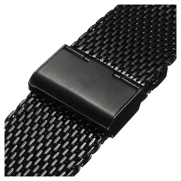YCYS New 20mm Watch Strap Shark Mesh Band Stainless Double Clasp Steel Bracelet Black