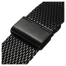 YCYS-Nouveau 20mm Montre Bracelet Requin Maille Bande Inoxydable Double Fermoir Bracelet En Acier Noir