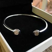 NEW! Perfect Charm logo Engraved Classical S925 Silver Open pulseira pandoras Bracelet Bangle Signature chain women