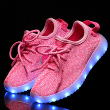 New fashion light up kids led shoes luminous girl boys shoes color glowing casual with simulation sole charge for Childrens