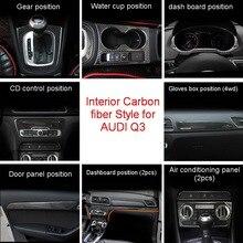 Tonlinker интерьер набором чехол наклейки для AUDI Q3 2013-18 автомобильный Стайлинг 1-4 года шт. углеродного волокна крышки наклейки