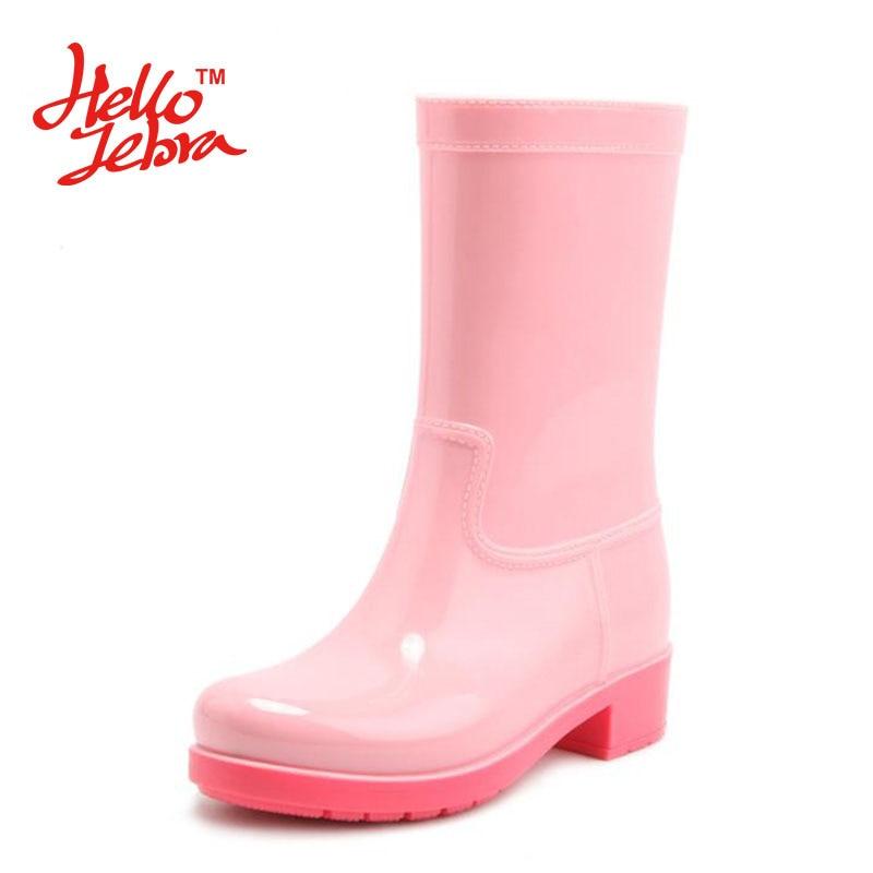 Hellozebra Women Fashion Rain Boots Ladies Solid Candy Color Slip On Rubber Flat Heels Waterproof Charm Hoof Heels Rainboots women tall rain boots ladies low hoof heels waterproof graffiti buckle high nubuck round toe rainboots 2016 new fashion design