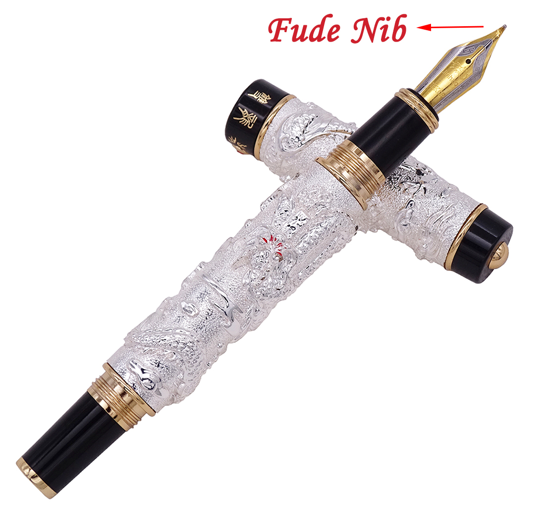 Jinhao Vintage Silver Fountain Pen Double Dragon Calligraphy Fude Nib Full Metal Carving Embossing Heavy Gift Collection
