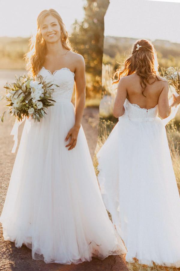 Sexy Sweetheart White Tulle Backless Beach Wedding Dress with Lace Long Bridal Dresses