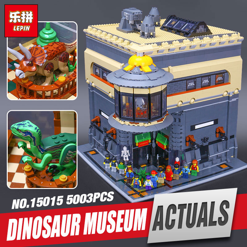 New LEPIN 15015 5003pcs Genuine City The dinosaur museum Model Educational Building Kits Brick Fuuny Toy Compatible Toys Gift