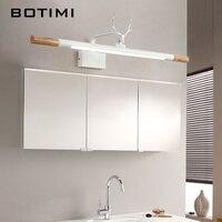 Botimi 220 v conduziu a lâmpada de parede para o banheiro espelho branco luz de madeira arandela moderna cabeceira luzes montagem na parede luminaira