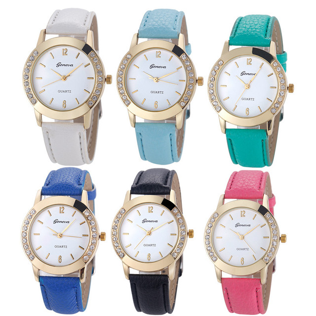 New Fashion Geneva Fashion Women Diamond Analog Leather Quartz Wrist Watch Watch