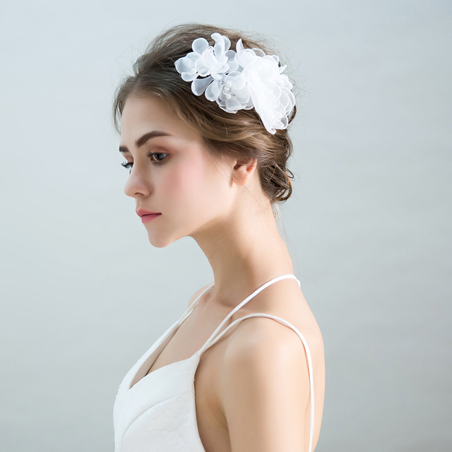 Princess Bridal Side Hair Clips Handmade Flower Barrettes Yarn Fl Headpieces Hairwear S Hairgrips Wedding