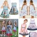 New Girls Minnie Dress cartoon bunny cotton dress chiffon dress Polka Dot stripe bike Puppy dogs Kids clothes Free Shipping