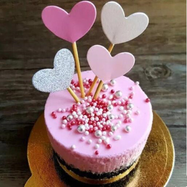 Wedding Cake Cupcake Toppers Sprink Heart Shape Birthday Pastry Cake