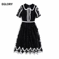 High Quality New Runway Style Dress Women Black White Color Block Short Sleeve Appliques Flower Embroidery Mesh Dress Work Wear