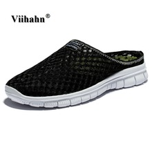 Viihahn Men's Slippers Casual Shoes Flat Sandals Breathable Mesh Shoes Beach Aqua Anti-Slip Outdoor Shoes Plus Size 46