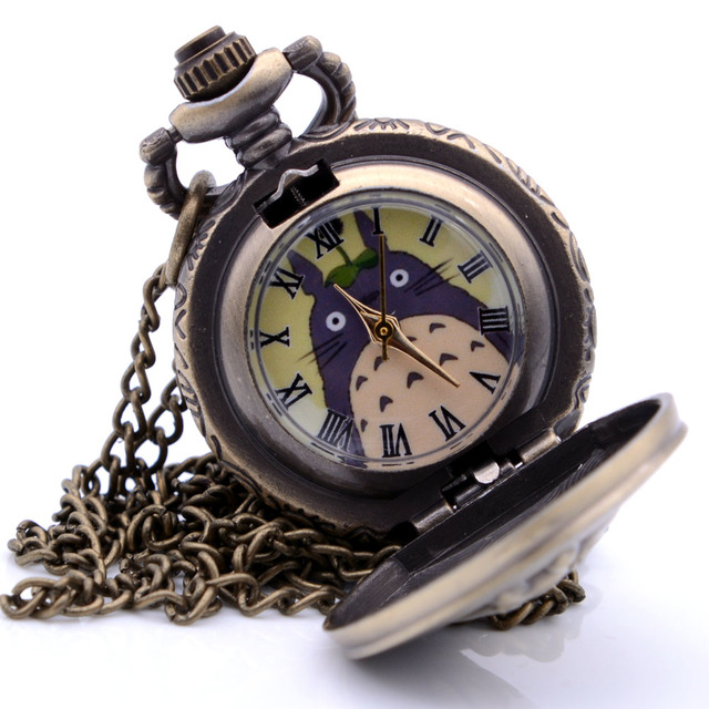 Small Size Antique Vintage Steampunk My Neighbor Totoro Mens Quartz Pocket Watch