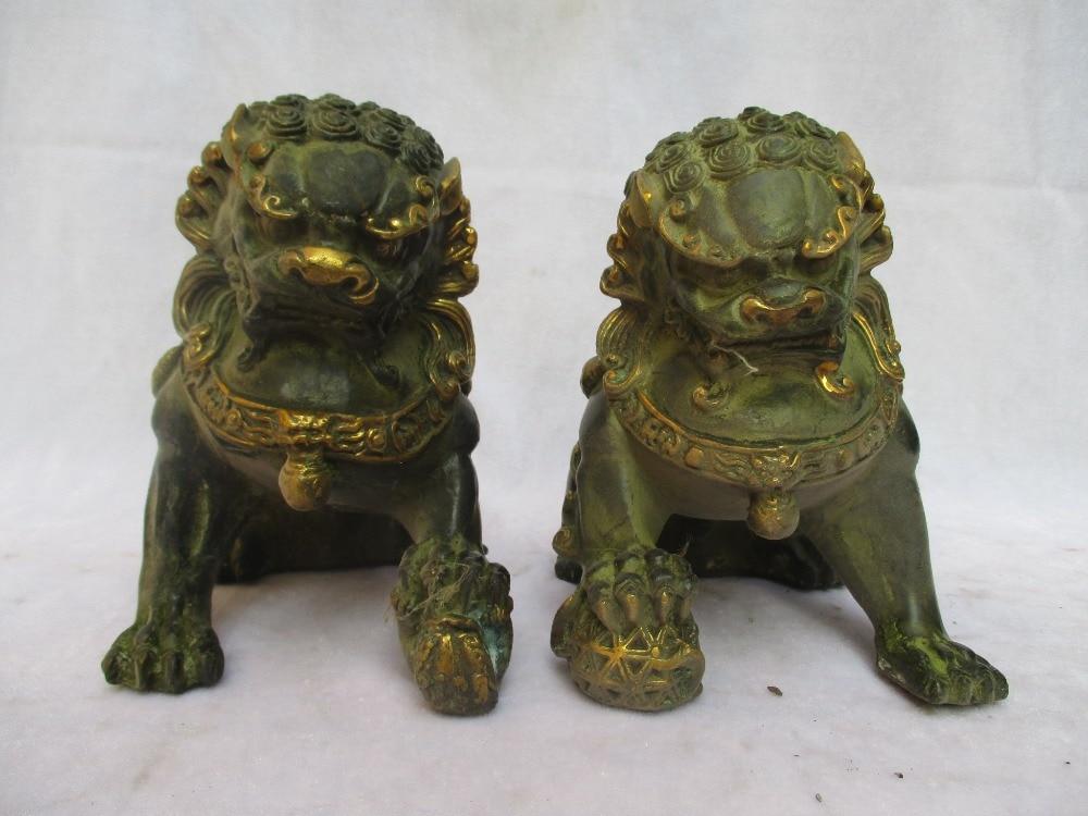 Высота: 16 см!! Коллекционная 1 пара китайских старинных бронзовых резных золотых скульптур для собаки/антикварная Металлическая Статуя
