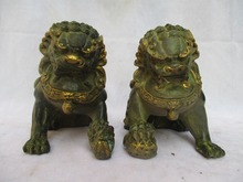 High:16CM !!!Collectible 1 Pair Of Chinese Old Bronze Carved Gold gilt Fu Foo Dog  Sculpture /Antique Metal statue