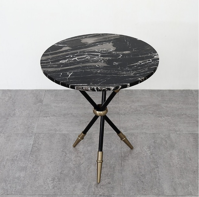 50cm Round Marble Coffee Table / 56cm High Tea Table / Black Metal Stand