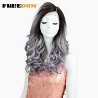 FREEDOM Synthetic Wigs For Women Heat Resistant Loose Deep Wave Dark Roots Ombre Purple Grey Lace Front Wig Cosplay Hair 22 Inch