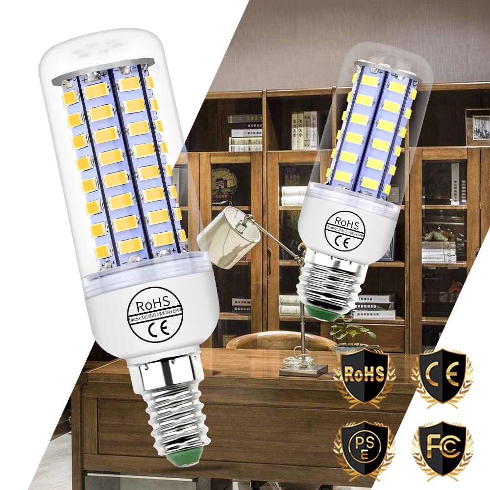 E14 Led Lamp E27 230V Led Corn Bulb 220V Energy Saving Light SMD 5730 24 36 48 56 69 72leds Lampe High Brightness Household Lamp