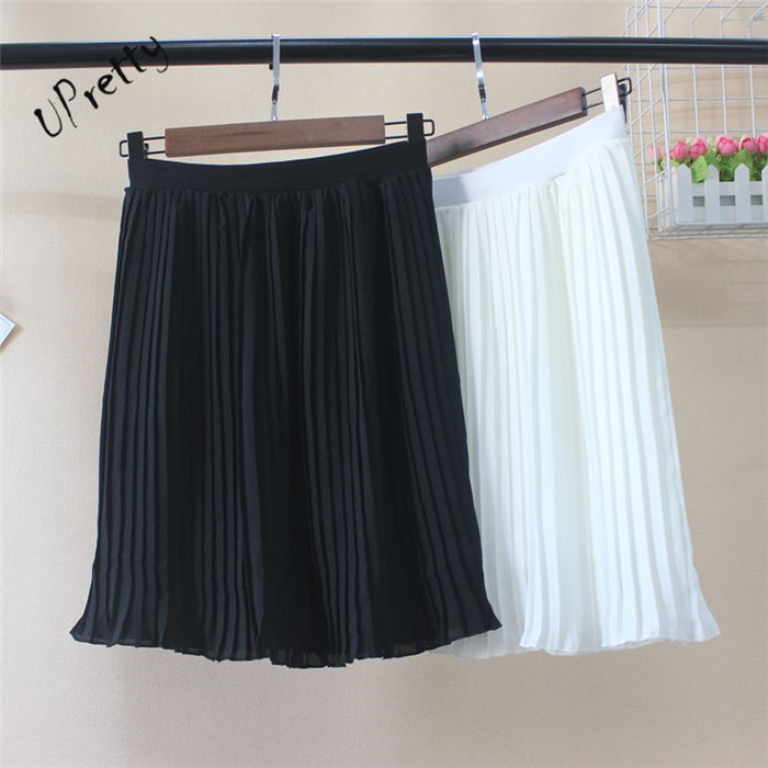 Spring Summer Women pleated Skirt Ladies Korean Elegant Short Sexy Mini High Waist Elasticity Chiffon A Line Black White Skirt