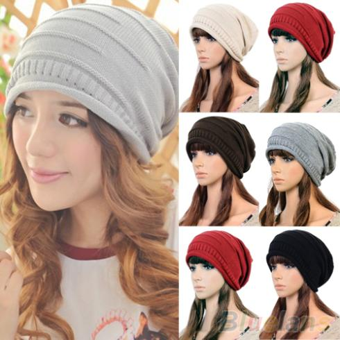 Hot Unisex Women Winter Plicate Baggy Beanie Knit Crochet Cap Oversized Slouch Hat 225P купить