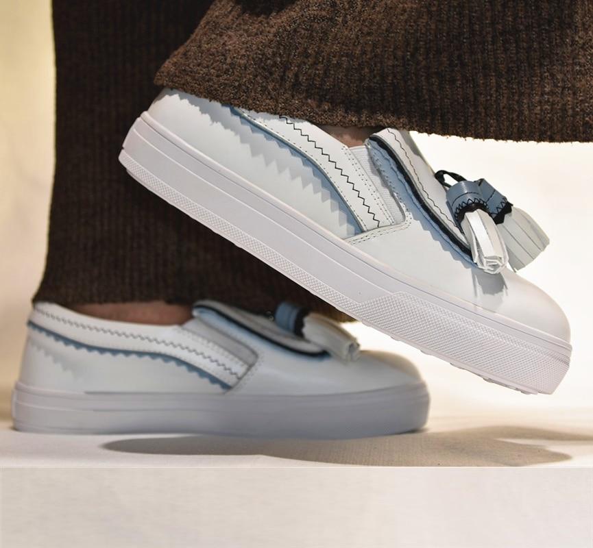 Mode Les As Zapatos Plat Chaussures Rond Sur Casual Show Caoutchouc as Blanc Show Noir Nouveau Bout Slip Match À Femmes Coudre Talon En Gland Tous rnR1vwrF