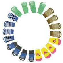 4 шт., милые вязаные носки для щенков, собак, домашних животных, нескользящие носки для собак, носки для домашних животных маленьких пород, цветные носки для домашних животных, носки для собак D38JL17